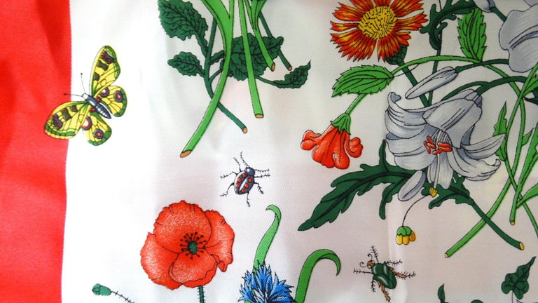 1980s Gucci Iconic Flora Motif Scarf For Sale 3