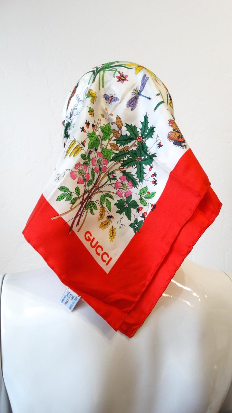 1980s Gucci Iconic Flora Motif Scarf For Sale 4