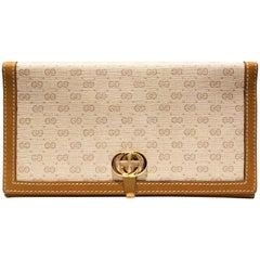 1980s Gucci monogram beige wrap handbag