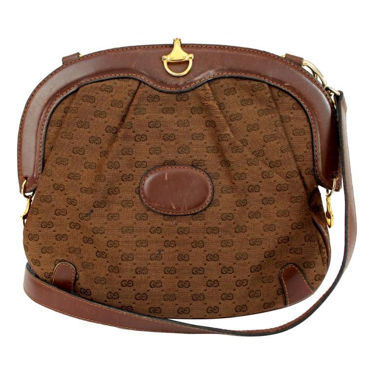944db3eb31b5 1980s Gucci Letaher Canvas Brown Clutch Monogram Shoulder Bag For Sale