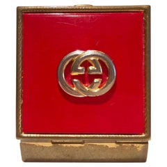 1980s GUCCI Logo Square Lidded Red and Gold Tone Metal Pocket Ashtray Pill box