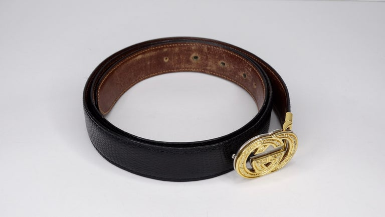 1980s Gucci Marmont Reversible Black & Brown Leather Belt In Excellent Condition For Sale In Scottsdale, AZ