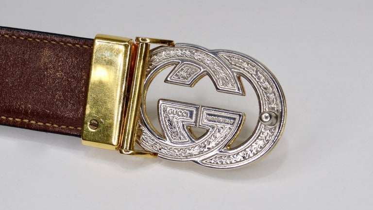 Women's 1980s Gucci Marmont Reversible Black & Brown Leather Belt For Sale