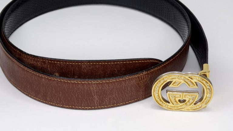 1980s Gucci Marmont Reversible Black & Brown Leather Belt For Sale 1