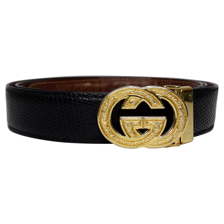 1980s Gucci Marmont Reversible Black & Brown Leather Belt For Sale