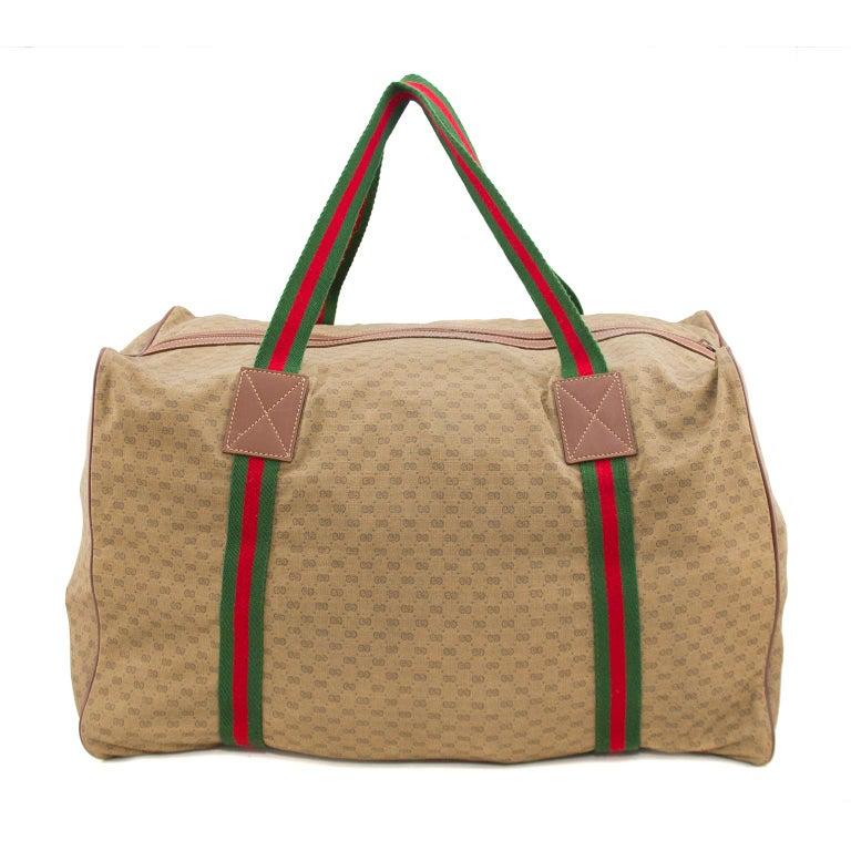 Brown 1980s Gucci Monogram Nylon Leather Trim Duffle Bag