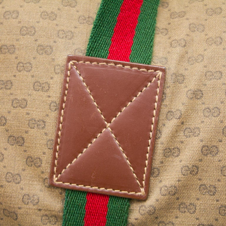 Women's or Men's 1980s Gucci Monogram Nylon Leather Trim Duffle Bag