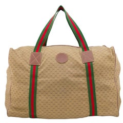 1980s Gucci Monogram Nylon Leather Trim Duffle Bag