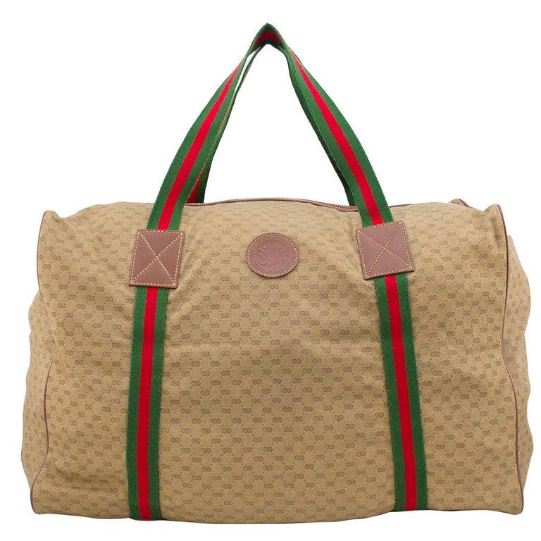 1980s Gucci Monogram Nylon Leather Trim Duffle Bag