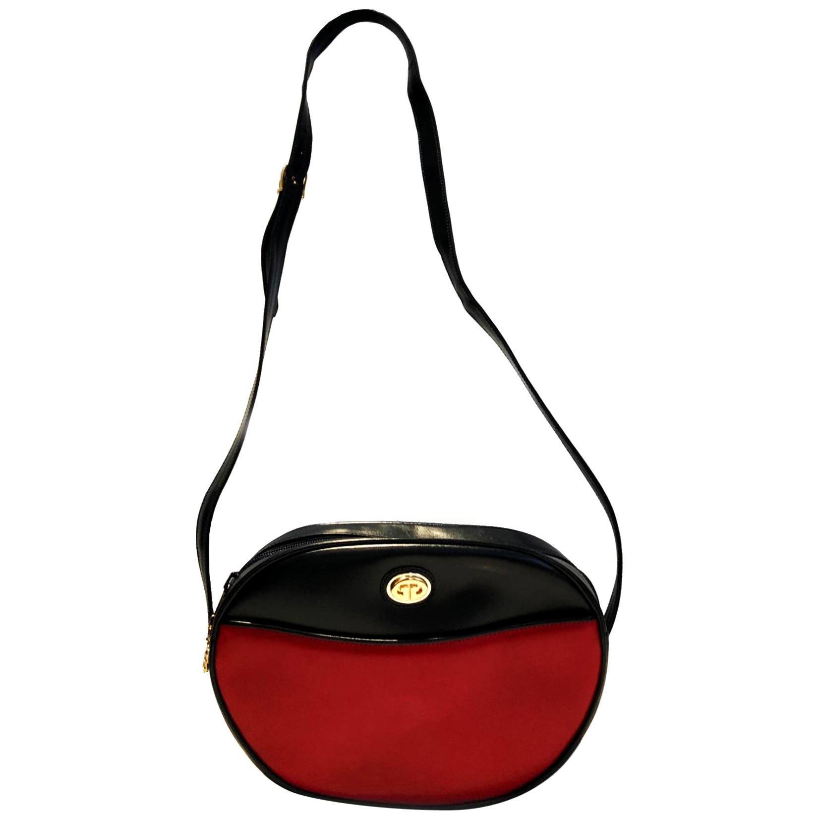 1980s Gucci Navy Blue Red GG Logo Charm Shoulder Bag