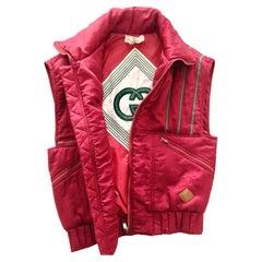 1980s Gucci Pink Logo Puffer Gilet Vest Jacket