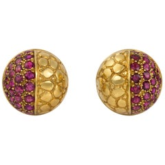 1980s Gucci Ruby and Gold Earrings