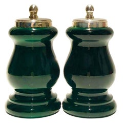 1980s Gucci Silver Tone and Green Lacquered Finish Wood Salt Shakers