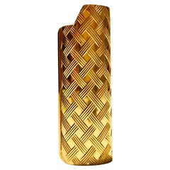 1980s GUCCI Vintage Gold Plated Braided Lighter Cover