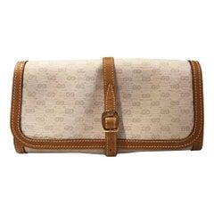 1980's Gucci White Monogram Leather Vanity Make Up Bag
