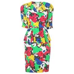 1980s Guy Laroche Abstract Print Dress