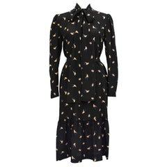 1980s Guy Laroche Diffusion Black Silk Leaf Print Dress