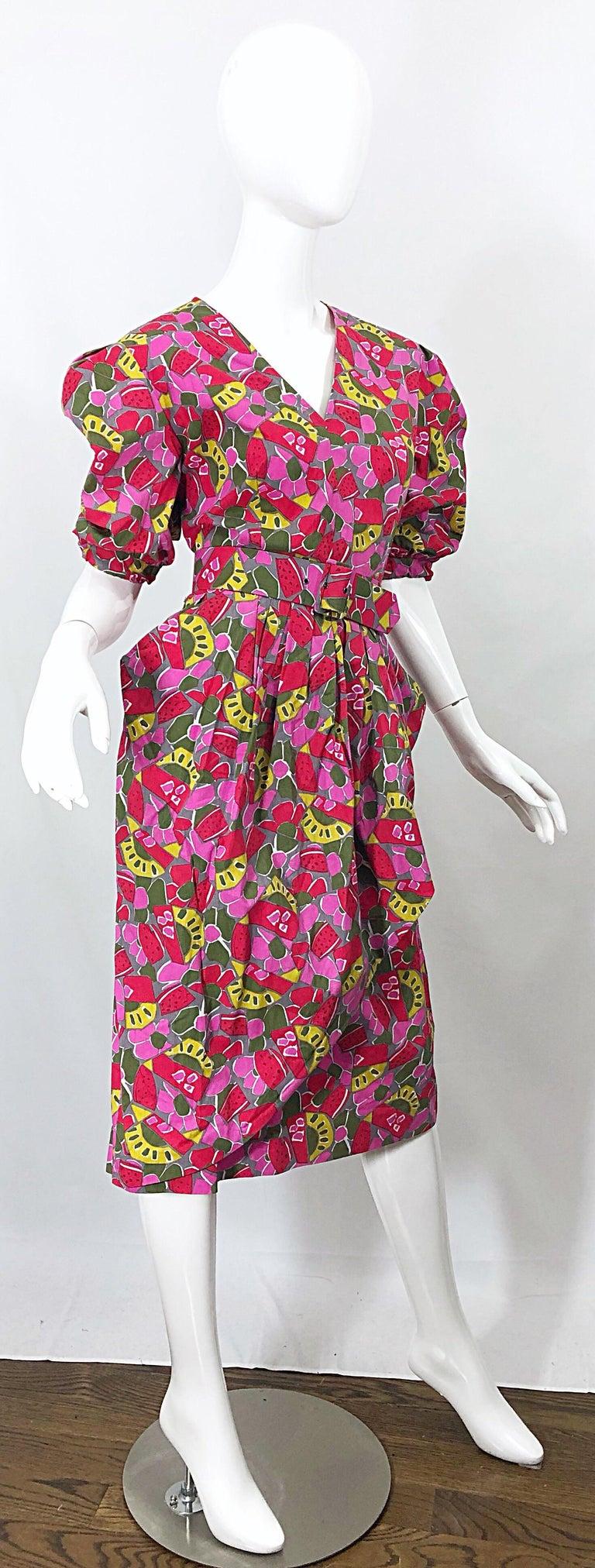 1980s Guy Laroche Size 44 / 12 Novelty Fruit Print Avant Garde Vintage 80s Dress For Sale 5