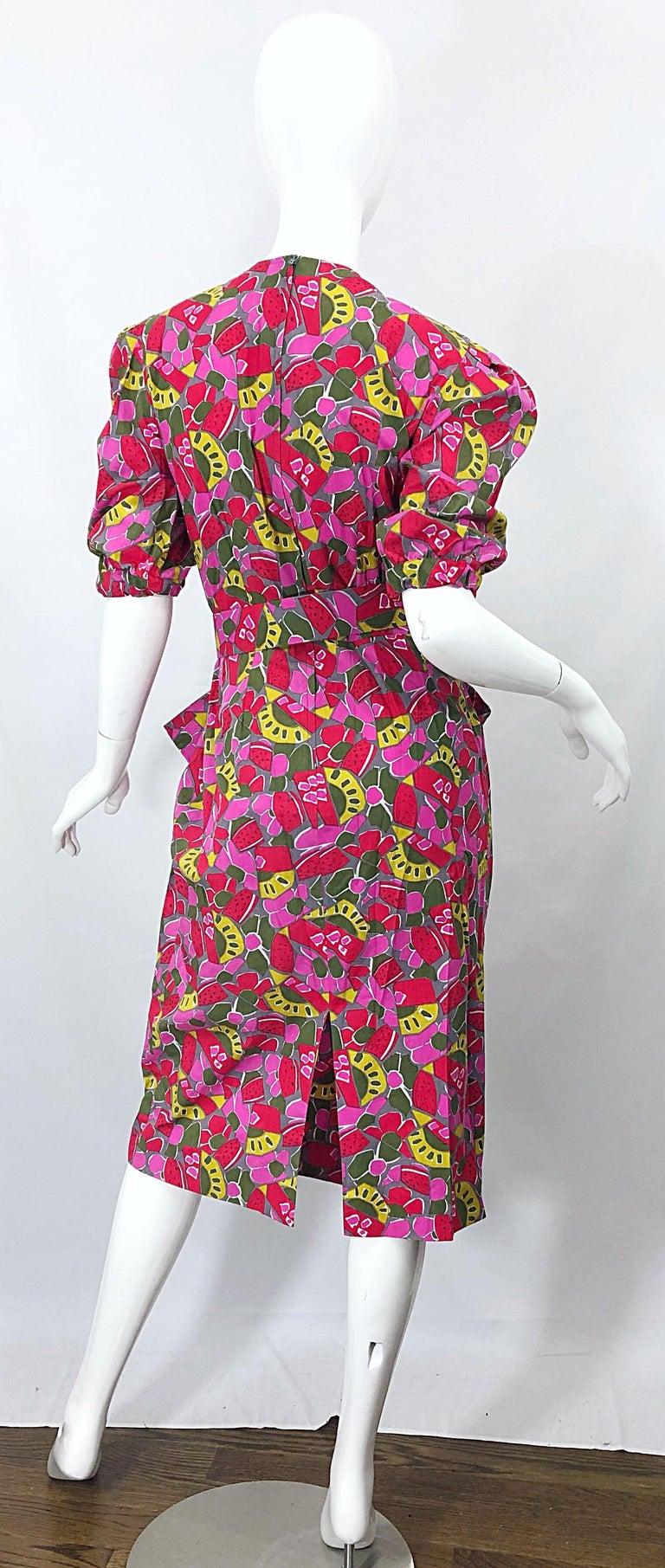 1980s Guy Laroche Size 44 / 12 Novelty Fruit Print Avant Garde Vintage 80s Dress For Sale 6