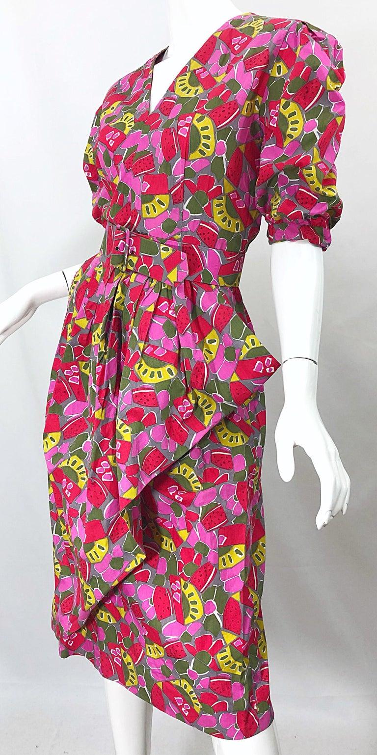 1980s Guy Laroche Size 44 / 12 Novelty Fruit Print Avant Garde Vintage 80s Dress For Sale 7