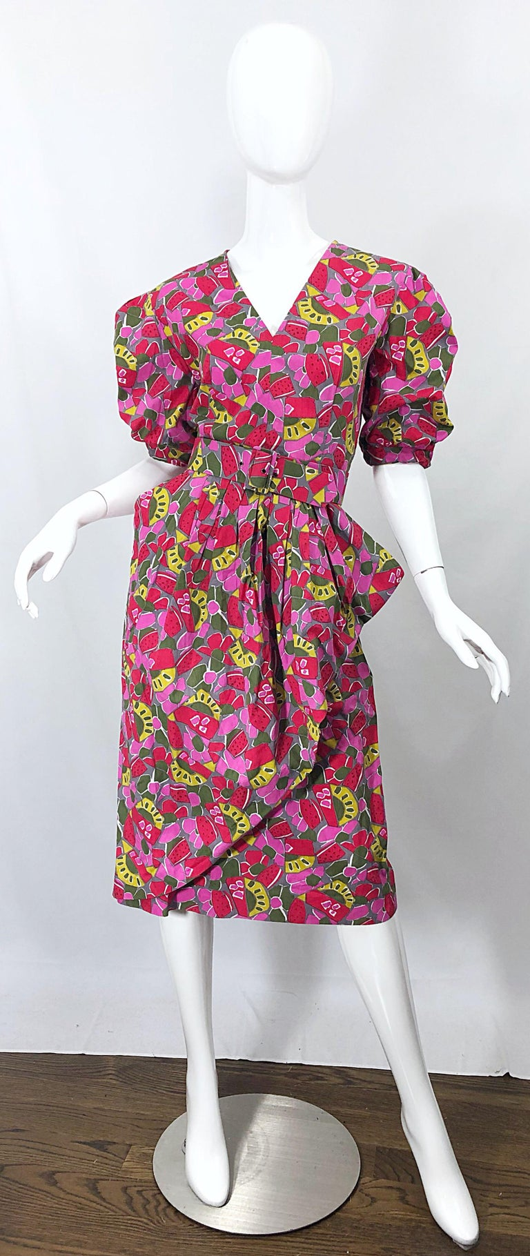 1980s Guy Laroche Size 44 / 12 Novelty Fruit Print Avant Garde Vintage 80s Dress For Sale 8