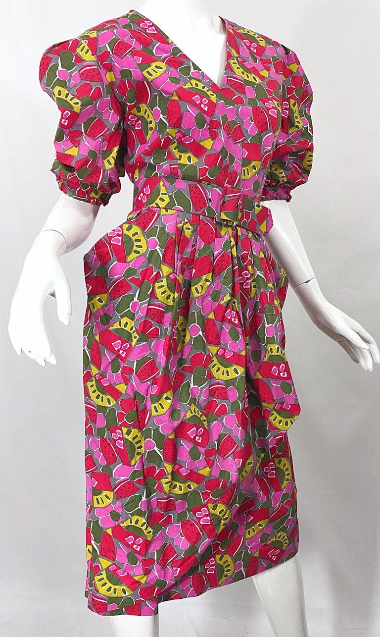 1980s Guy Laroche Size 44 / 12 Novelty Fruit Print Avant Garde Vintage 80s Dress For Sale 1