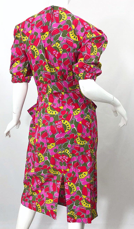 1980s Guy Laroche Size 44 / 12 Novelty Fruit Print Avant Garde Vintage 80s Dress For Sale 2