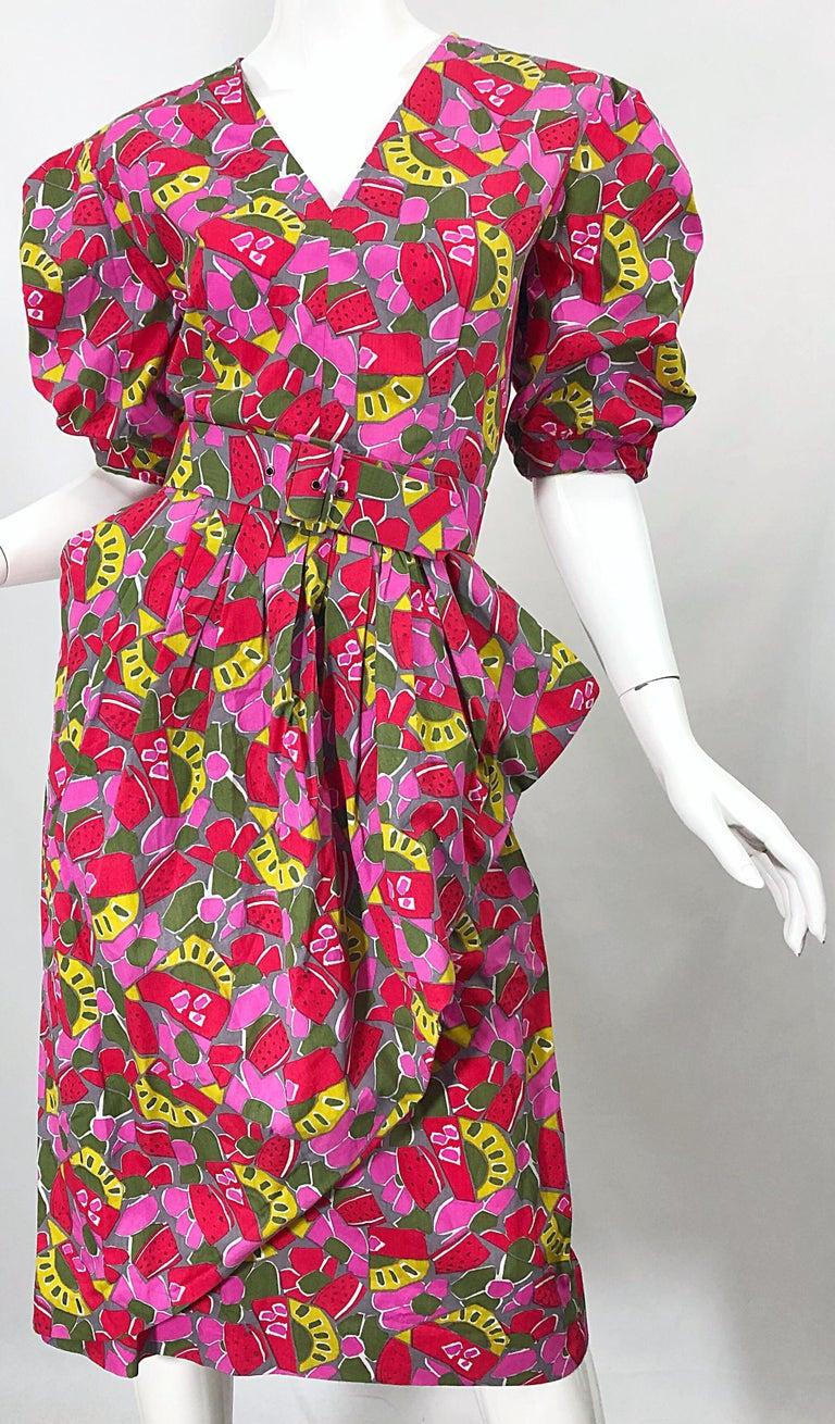 1980s Guy Laroche Size 44 / 12 Novelty Fruit Print Avant Garde Vintage 80s Dress For Sale 3
