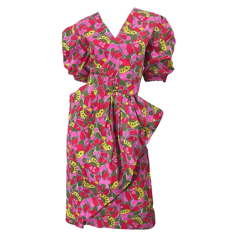 1980s Guy Laroche Size 44 / 12 Novelty Fruit Print Avant Garde Vintage 80s Dress For Sale