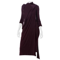 1980S Haider Ackermann Purple Polyester Jersey Twisted Drape Dress