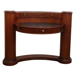 1980s Half Circle Wood Desk with Pillars & Leather Top by Enrique Garcel