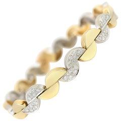 1980s Half Moon 14 Karat Yellow Gold Link With Diamond Bracelet