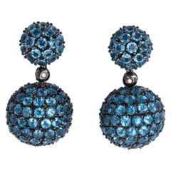 1980s Half Sphere Shape and Hanging Ball Blue Topaz Gold Drop Earrings