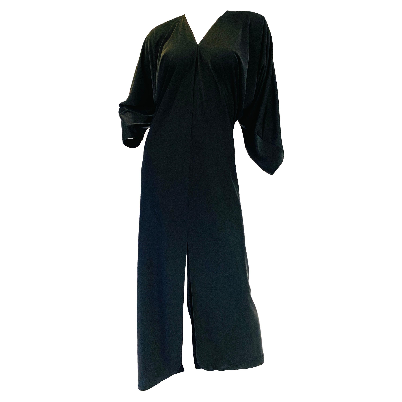 1980s Halston Black Jersey Knit Dolman Sleeved Kaftan