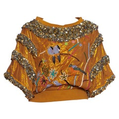 1980S Hand Embroidered Gold Lamé Lurex Top With Spangly Sequins & Birds