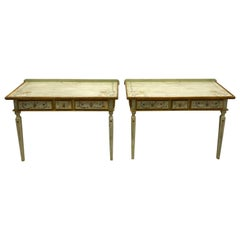 1980s Hand Painted French Style Niermann Weeks Console Tables, a Pair