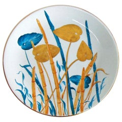 1980s Hand Painted Italian Plate, Porcelain and Pure Gold