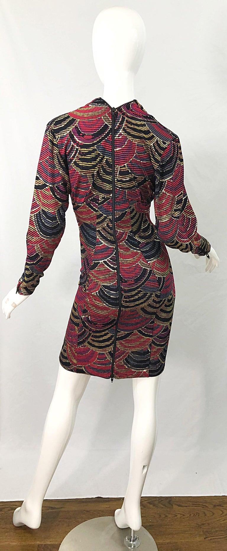 1980s Hand Painted Reversible Red + Gold + Green Vintage 80s Avant Garde Dress For Sale 5