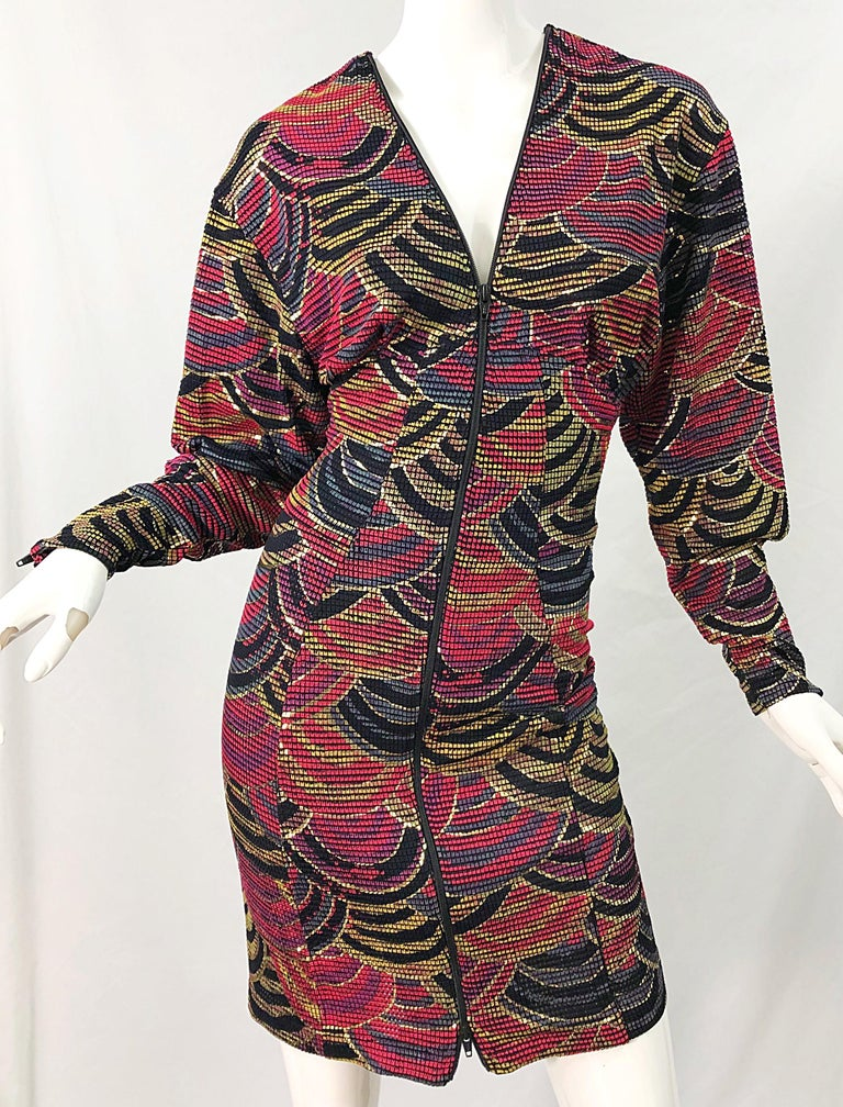 1980s Hand Painted Reversible Red + Gold + Green Vintage 80s Avant Garde Dress For Sale 6