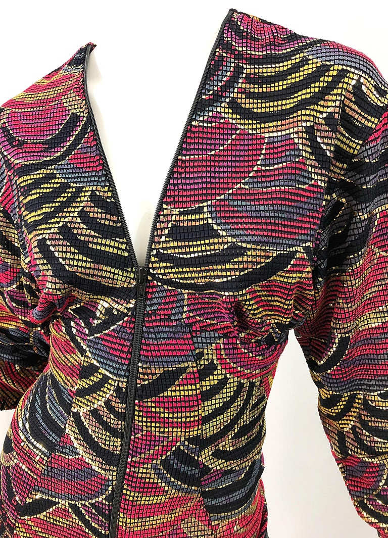 1980s Hand Painted Reversible Red + Gold + Green Vintage 80s Avant Garde Dress For Sale 7