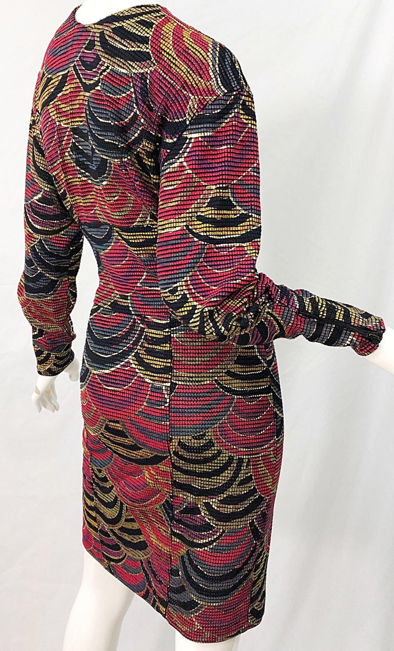 1980s Hand Painted Reversible Red + Gold + Green Vintage 80s Avant Garde Dress For Sale 8