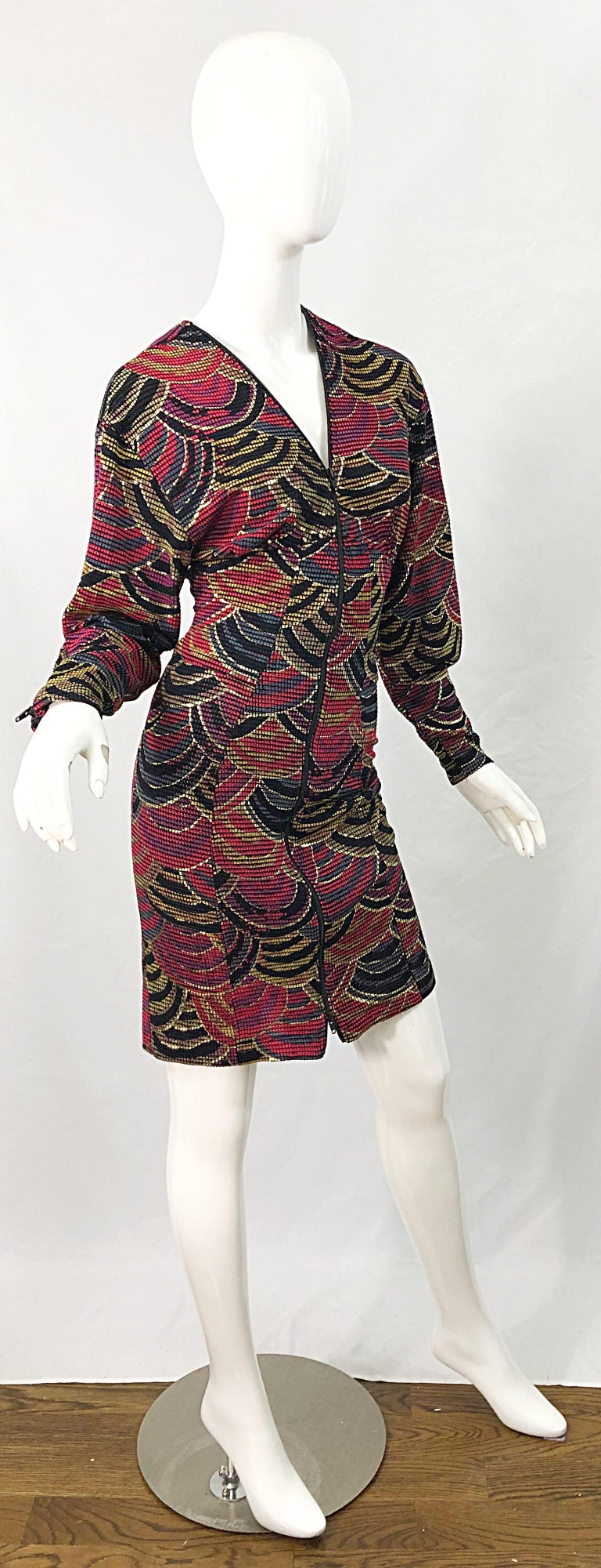 1980s Hand Painted Reversible Red + Gold + Green Vintage 80s Avant Garde Dress For Sale 9