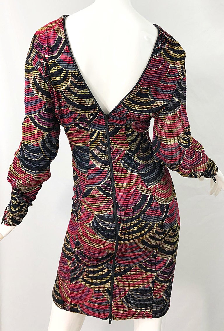 1980s Hand Painted Reversible Red + Gold + Green Vintage 80s Avant Garde Dress For Sale 10