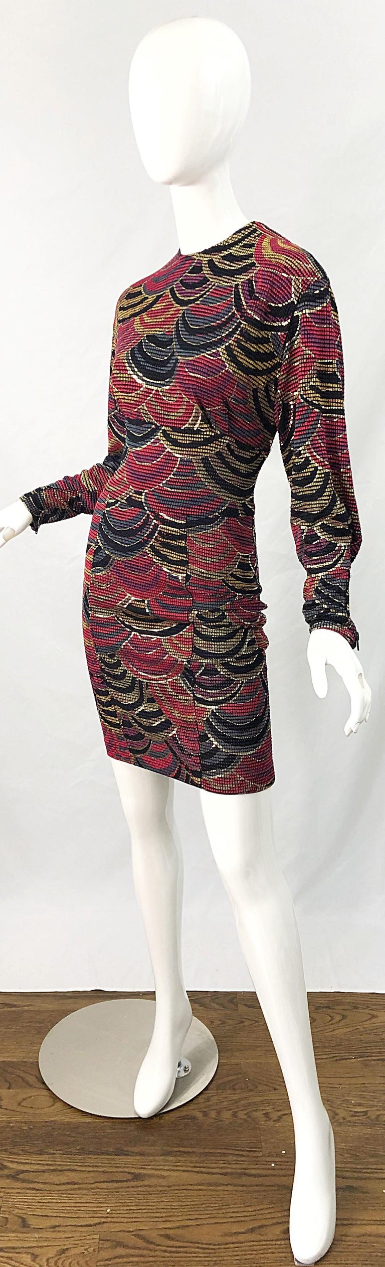1980s Hand Painted Reversible Red + Gold + Green Vintage 80s Avant Garde Dress For Sale 11