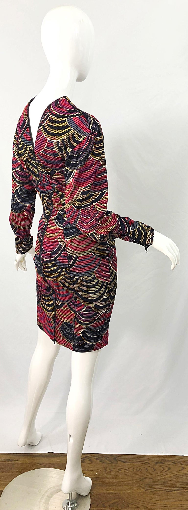1980s Hand Painted Reversible Red + Gold + Green Vintage 80s Avant Garde Dress For Sale 12