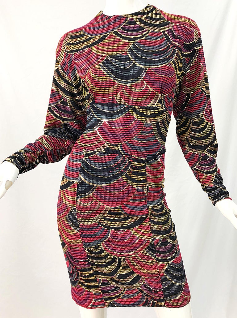 1980s Hand Painted Reversible Red + Gold + Green Vintage 80s Avant Garde Dress For Sale 14
