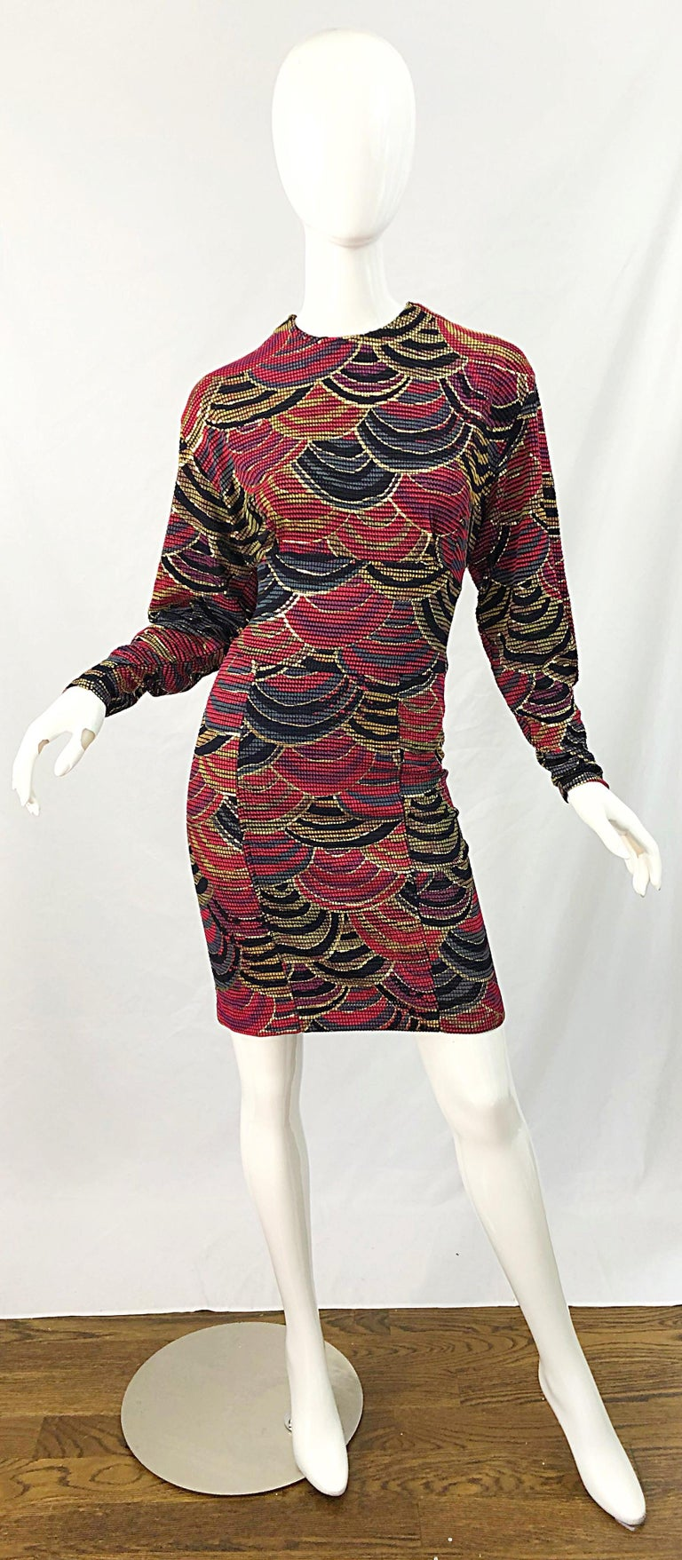Avant Garde 1980s hand painted gold, red, and hunter forest green long sleeve reversible dress ! This dress was brilliantly designed to wear either the zipper in the front or the back. There are bust supports on each side, but not visible when worn.