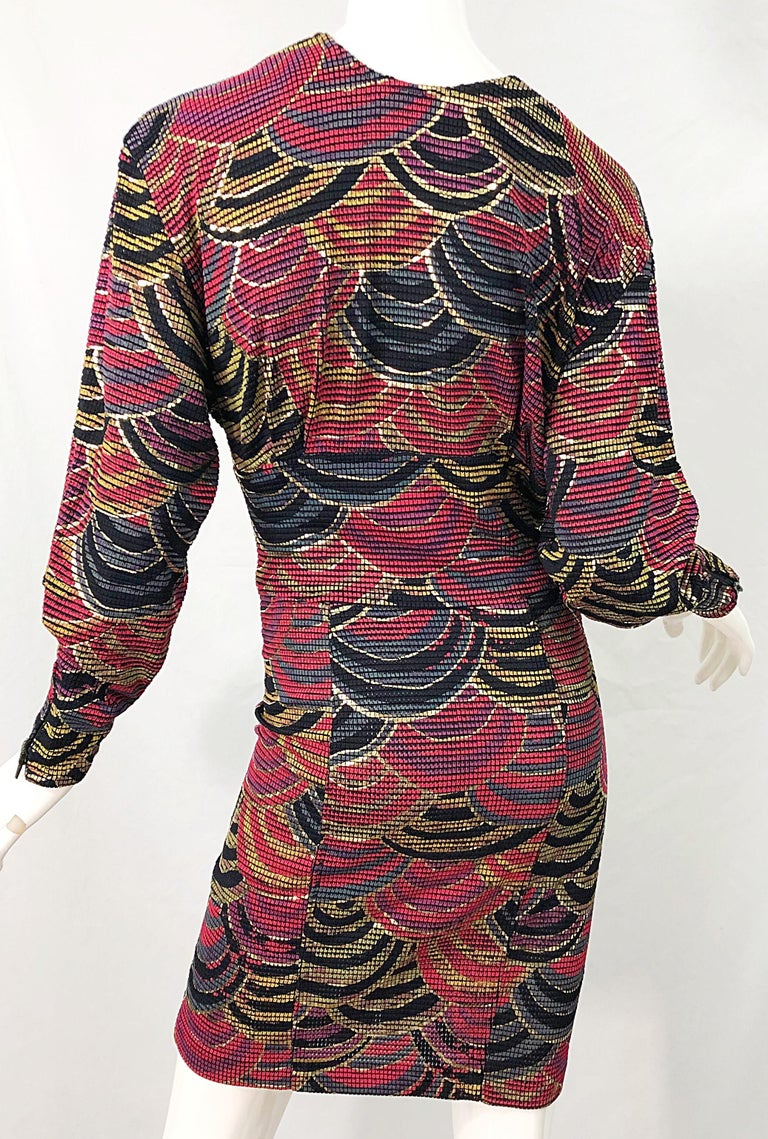 1980s Hand Painted Reversible Red + Gold + Green Vintage 80s Avant Garde Dress For Sale 15
