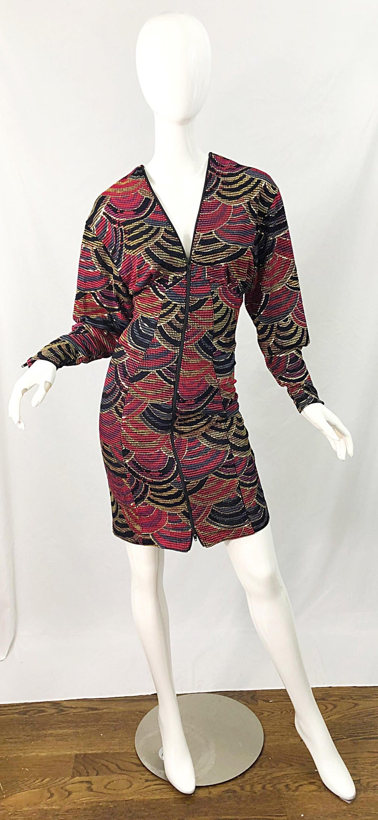 Black 1980s Hand Painted Reversible Red + Gold + Green Vintage 80s Avant Garde Dress For Sale