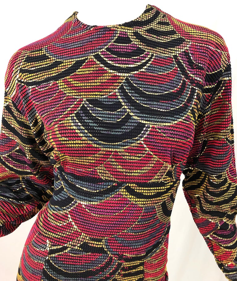 1980s Hand Painted Reversible Red + Gold + Green Vintage 80s Avant Garde Dress In Excellent Condition For Sale In Chicago, IL